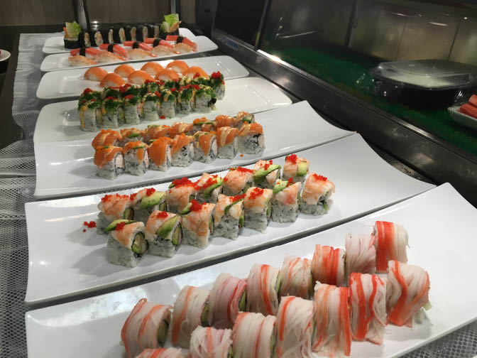 Japanese sushi handmade rolls at Golden Chopsticks Buffet in Loves Park, IL