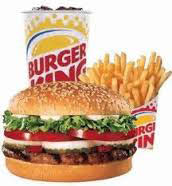 Burger King is where you fill your flame-broiled burger cravings any time - morning, day or night.  Add a drink and a fry, and you surely have a meal able to fill the hungriest appetite.  The burger is cooked to perfection with famous burger toppings.