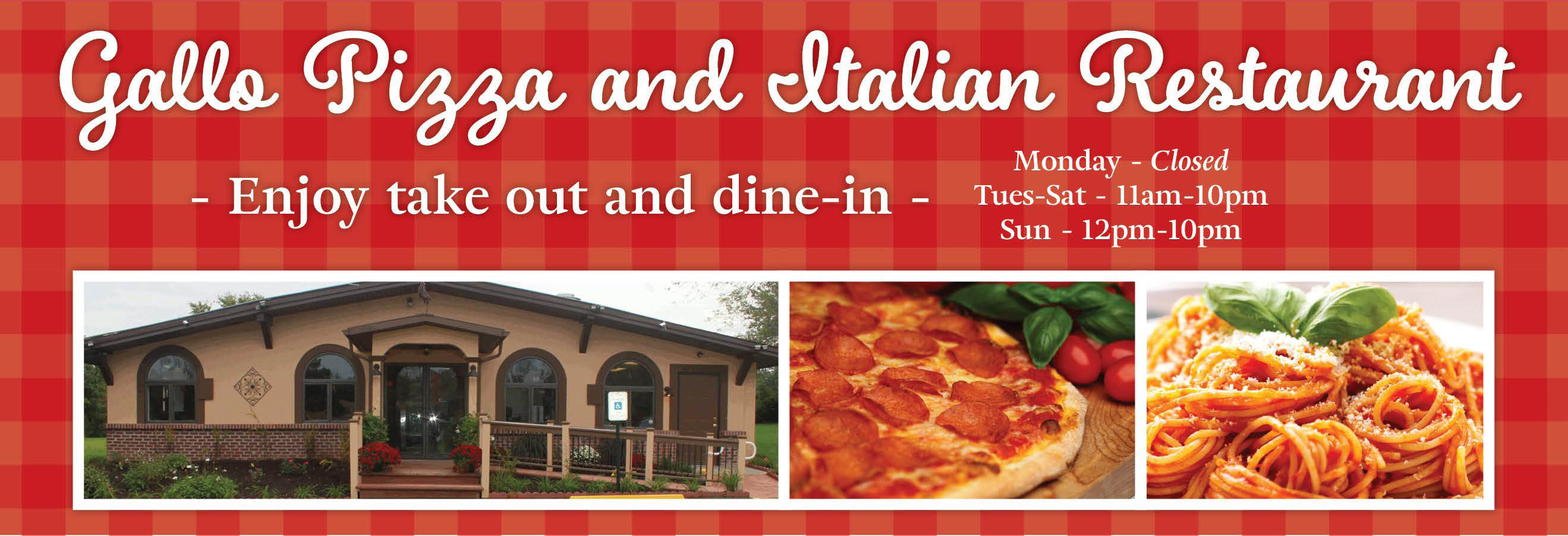Gallo Italian Restaurant, Pizza, Pasta, Subs, Sandwiches, Italian, Dinner, Lunch