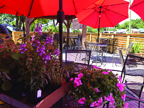 Outdoor seating at soul food restaurant