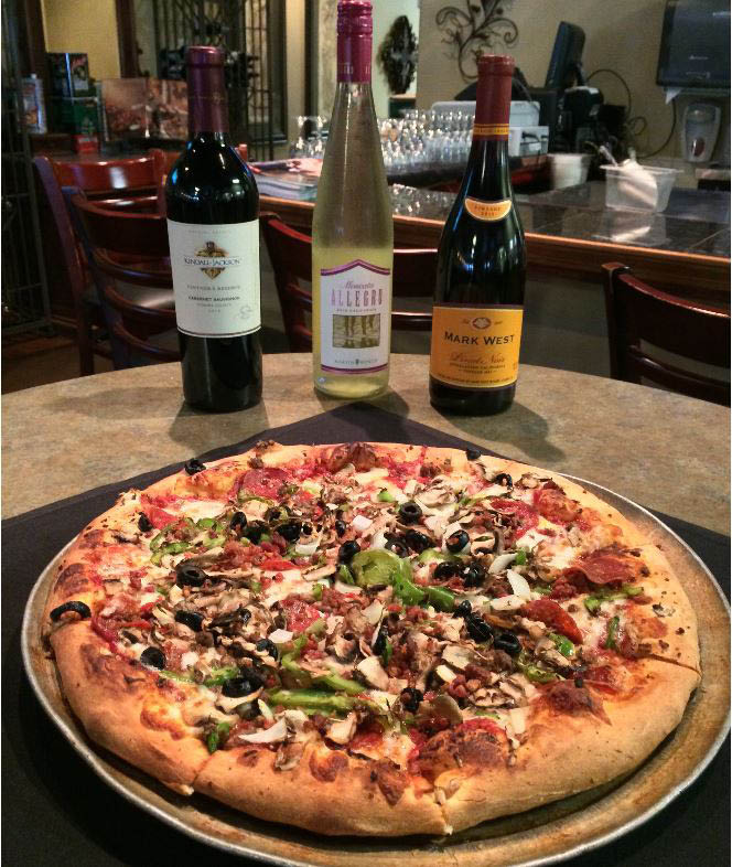 Wine and pizza hand tossed with veggies and pepperoni