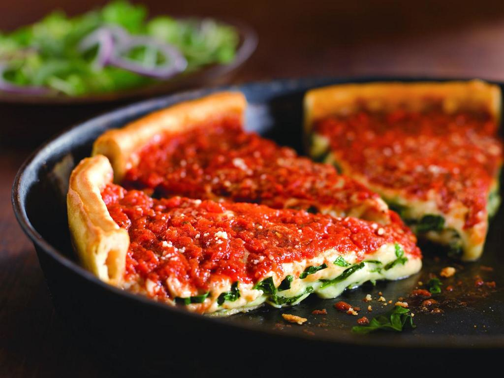 Giordano's Chicago-style deep dish pizza restaurant in Rockford uses only fresh ingredients in its pizzas.  All pizzas have the same fresh ingredients and never frozen.  Since the pizza is so thick, this means fresh ingredients which are very healthy.