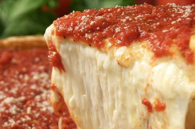 Giordano's Chicago-style deep dish pizza restaurant in Rockford uses large amount of cheese in every piece.  Not just  a few sprinkles but hand-fulls of cheese make up the very thick and delicious piece of Chicago-style deep dish pizza.