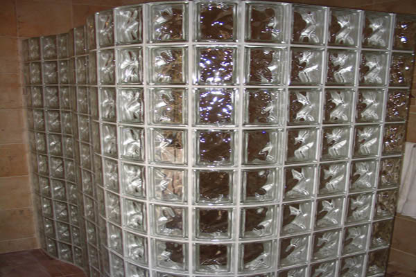 Another decorative glass block structure in a bathroom