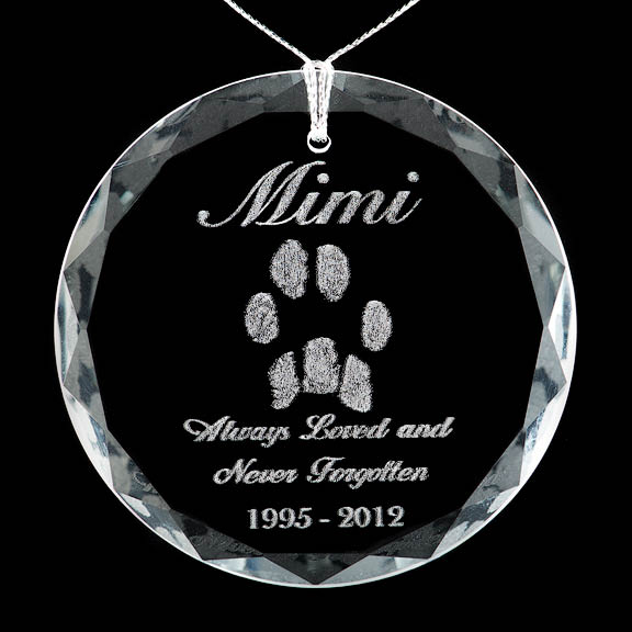Custom Crystal Ornament, Custom Art, Custom Jewelry, Octagon face, heart face, round face, laser engraved, for home, office, vehicle, paw print, nose print