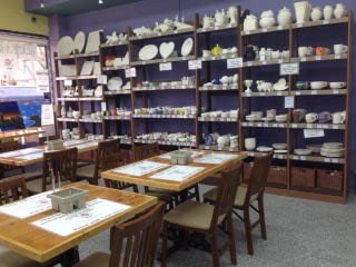 Pottery studio with unpainted pieces