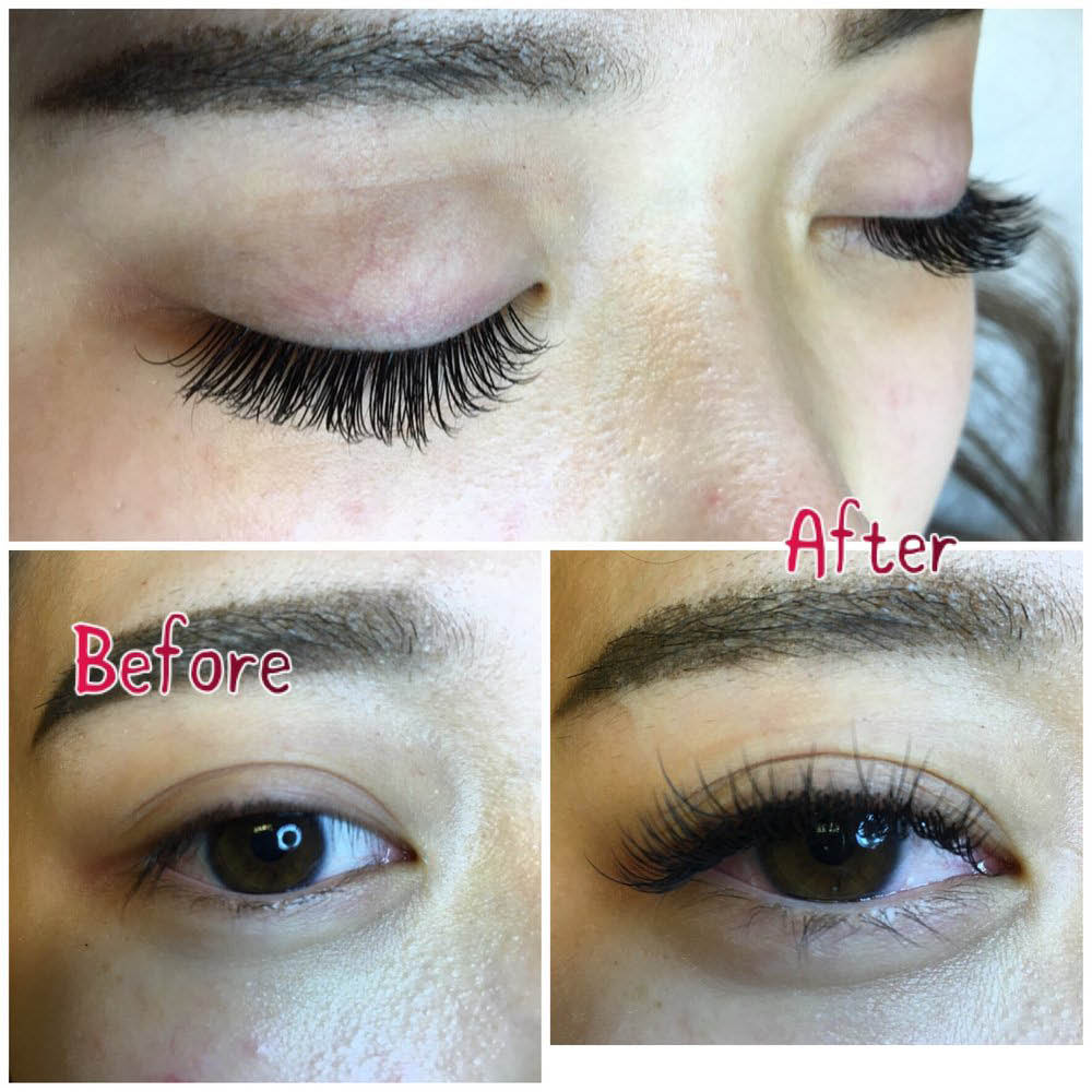 Before and after photos of eyelash extensions from Gloss Eyelash Extension in Bothell, Washington