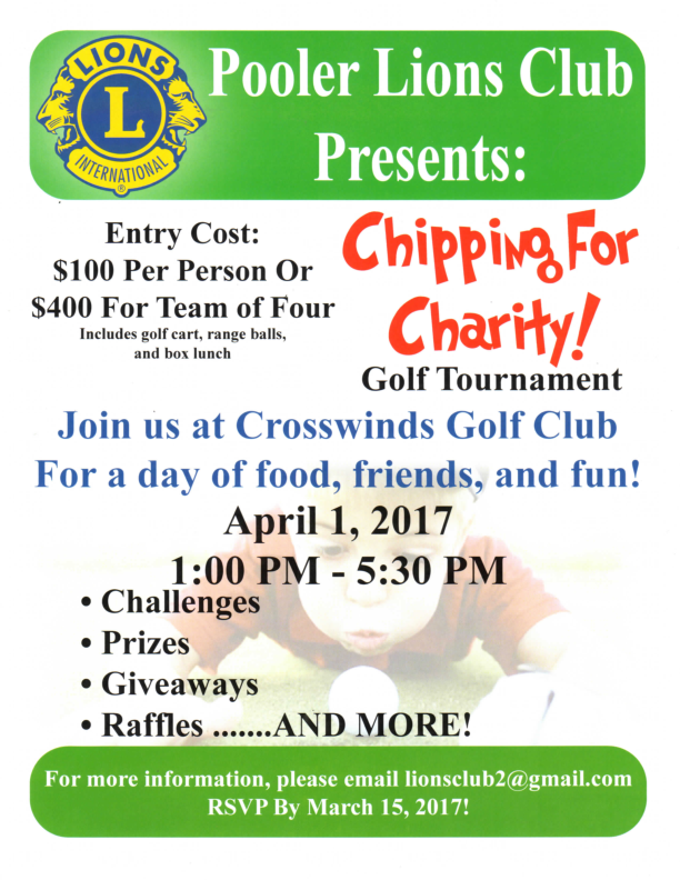 Pooler Lions Club Presents Chipping For Charity at The Crosswinds Golf Club April 14, 2018