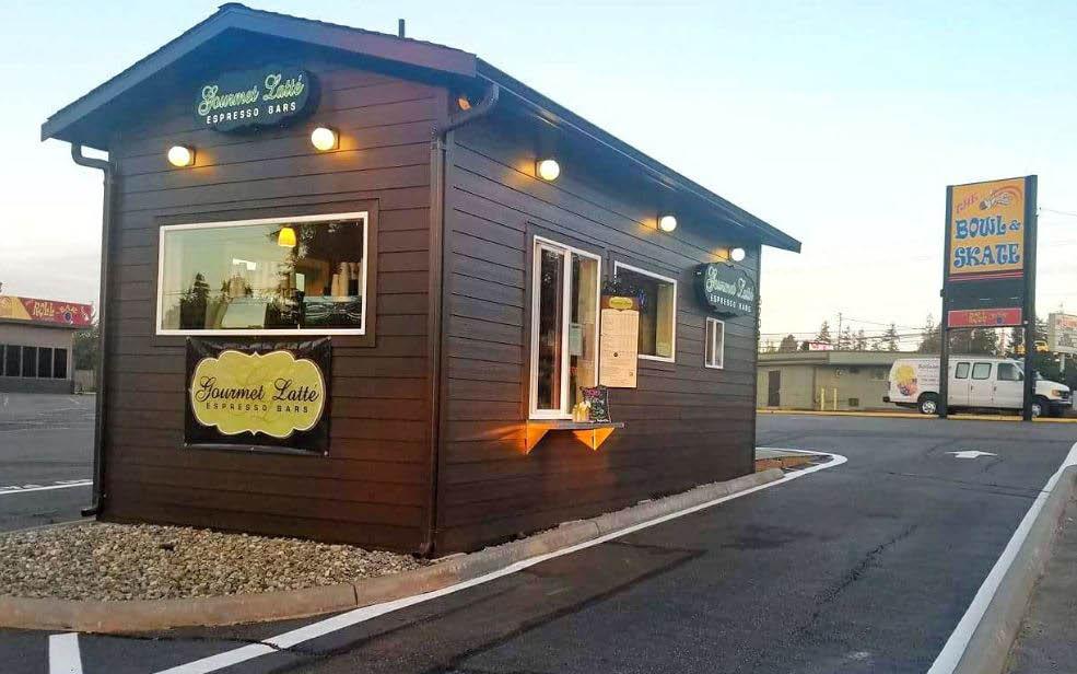 Exterior of Gourmet Latte at Lynnwood Skate & Bowl in Lynnwood, WA - Lynnwood espresso stands - convenient drive-thru espresso
