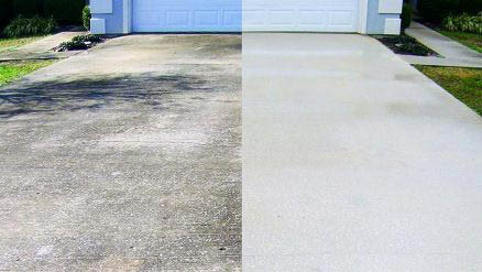 Photos of a driveway before and after pressure washing provided by Graffiti Busters in Seattle, WA - Seattle pressure washers