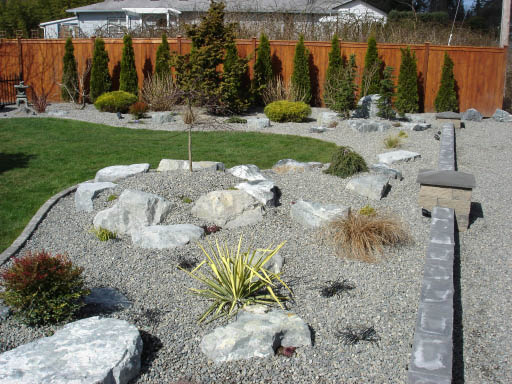 Beautiful backyard - rockery from Washington Rock Quarries - Graham, WA