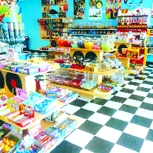 Shelves stacked with candy treats