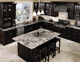 Dream kitchen and island with granite counter tops