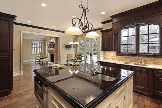Kitchen accented with granite