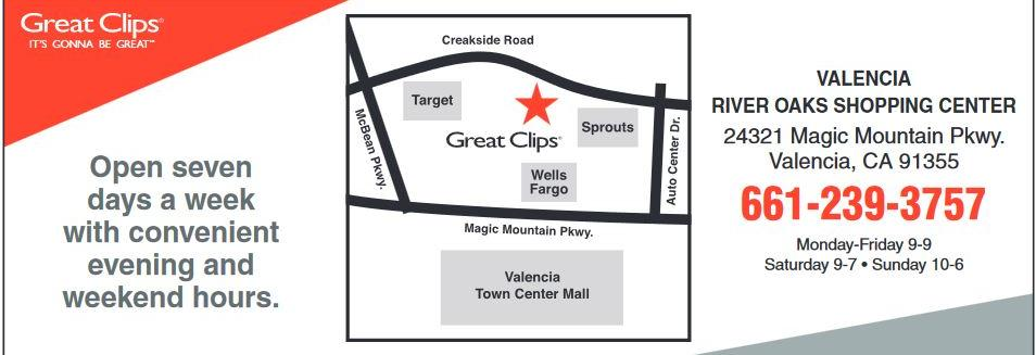 Great Clips map, Valencia location and hours banner