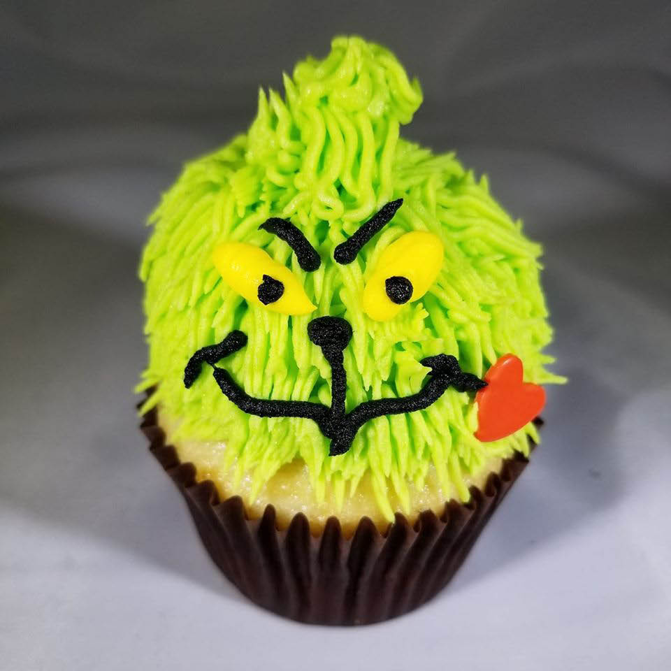 Cupcakes for Christmas parties - cupcakes for holiday parties - PinkaBella CupCakes in Bothell, Washington - cupcake coupons - Grinch cupcake made by PinkaBella CupCakes in Bothell, WA