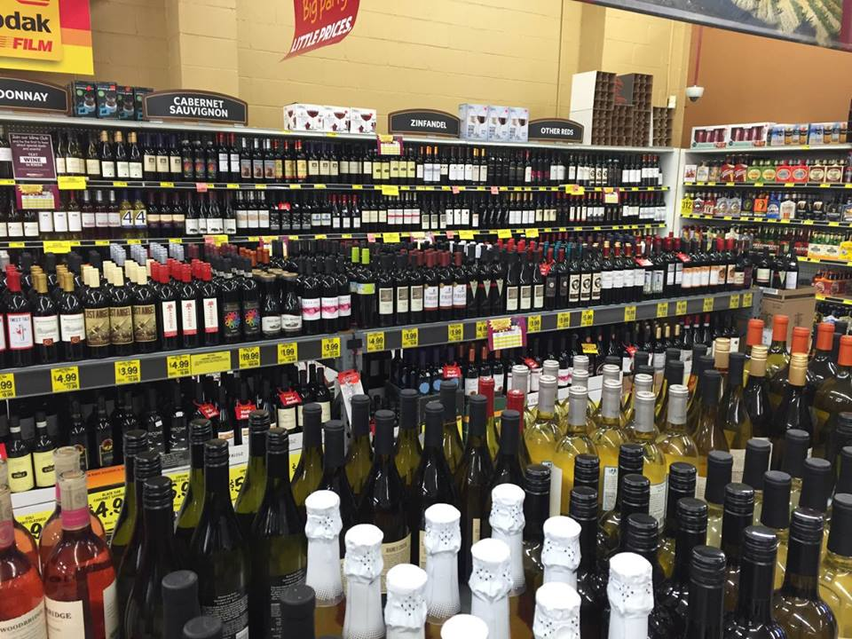 Beer and wine at grocery outlet