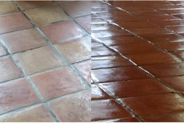 before and after floor reglaze from Grout Plus