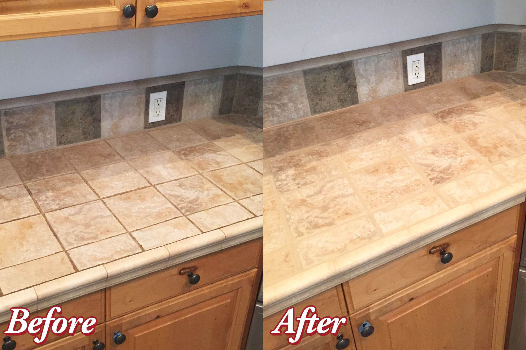 Before And After Counter Top Cleaning And Sealing In Boise, Garden City, Eagle, Meridian, Kuna, Nampa And Caldwell.