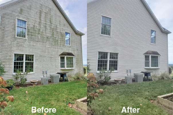 power wash house before & after