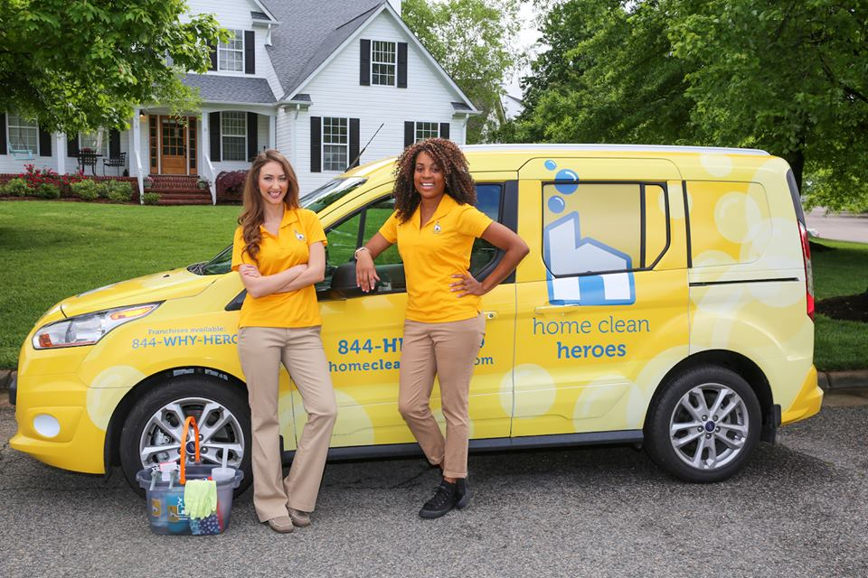 Home Clean Heroes car with cleaners
