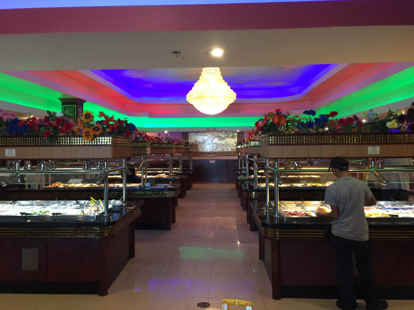multiple buffet counters at the Hibachi Grill for lunch and dinner