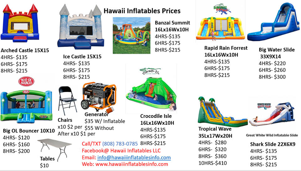 Hawaii Inflatables Price List - Call For Details