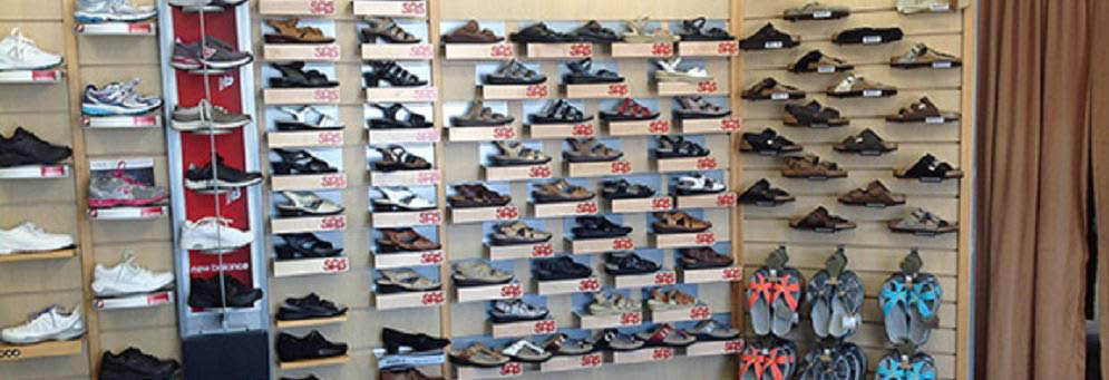 photo of wall of shoes for sale at Haig Shoes in Rochester, MI
