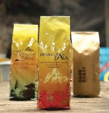 Himalayan Java coffee espresso roast, dark roast and other bagged products