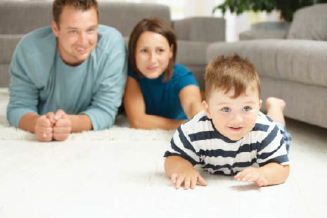 Carrington Carpet cleaning is safe for baby laying on floor