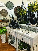 fake plants and porcelain vases