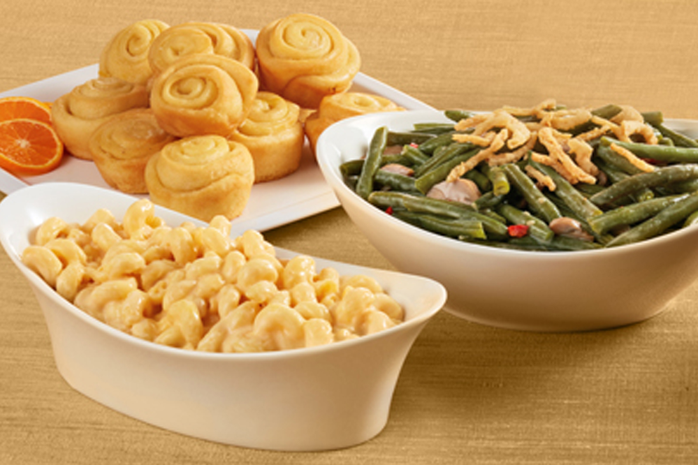 honeybaked sides and desserts, mac n' cheese, green beans, cranberry sauce, cinnamon buns, thanksgiving