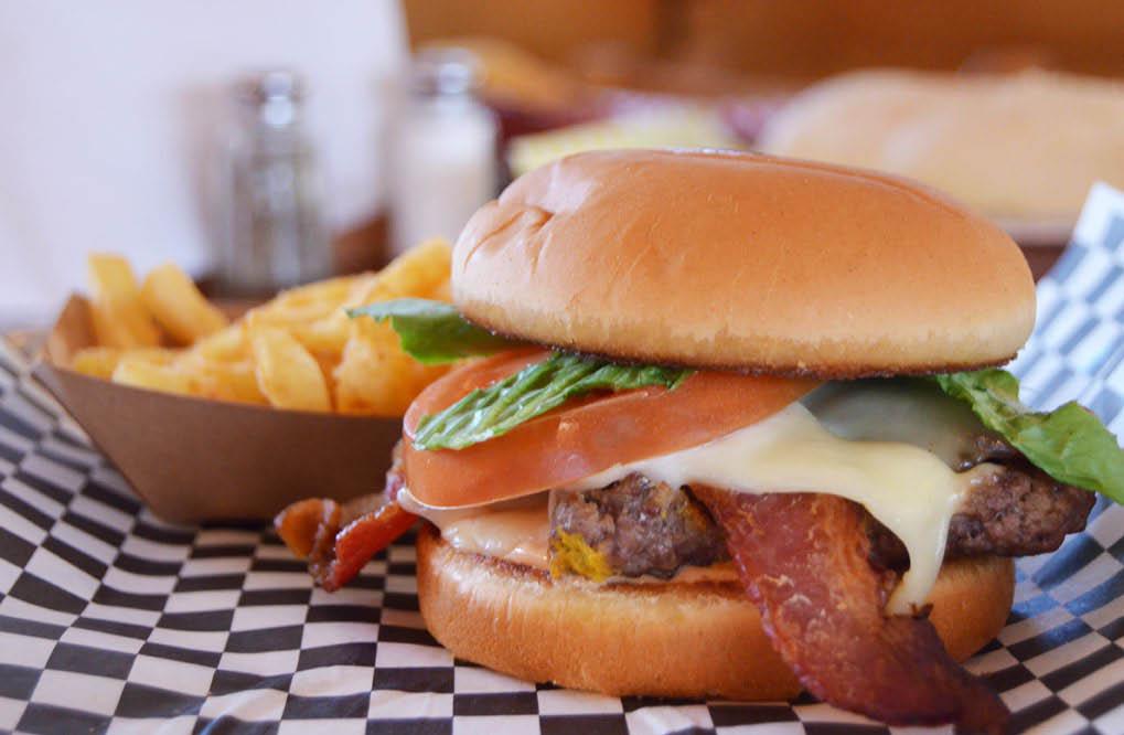 bacon hamburger; fries; mac n cheese; Honey Pit Smokehouse