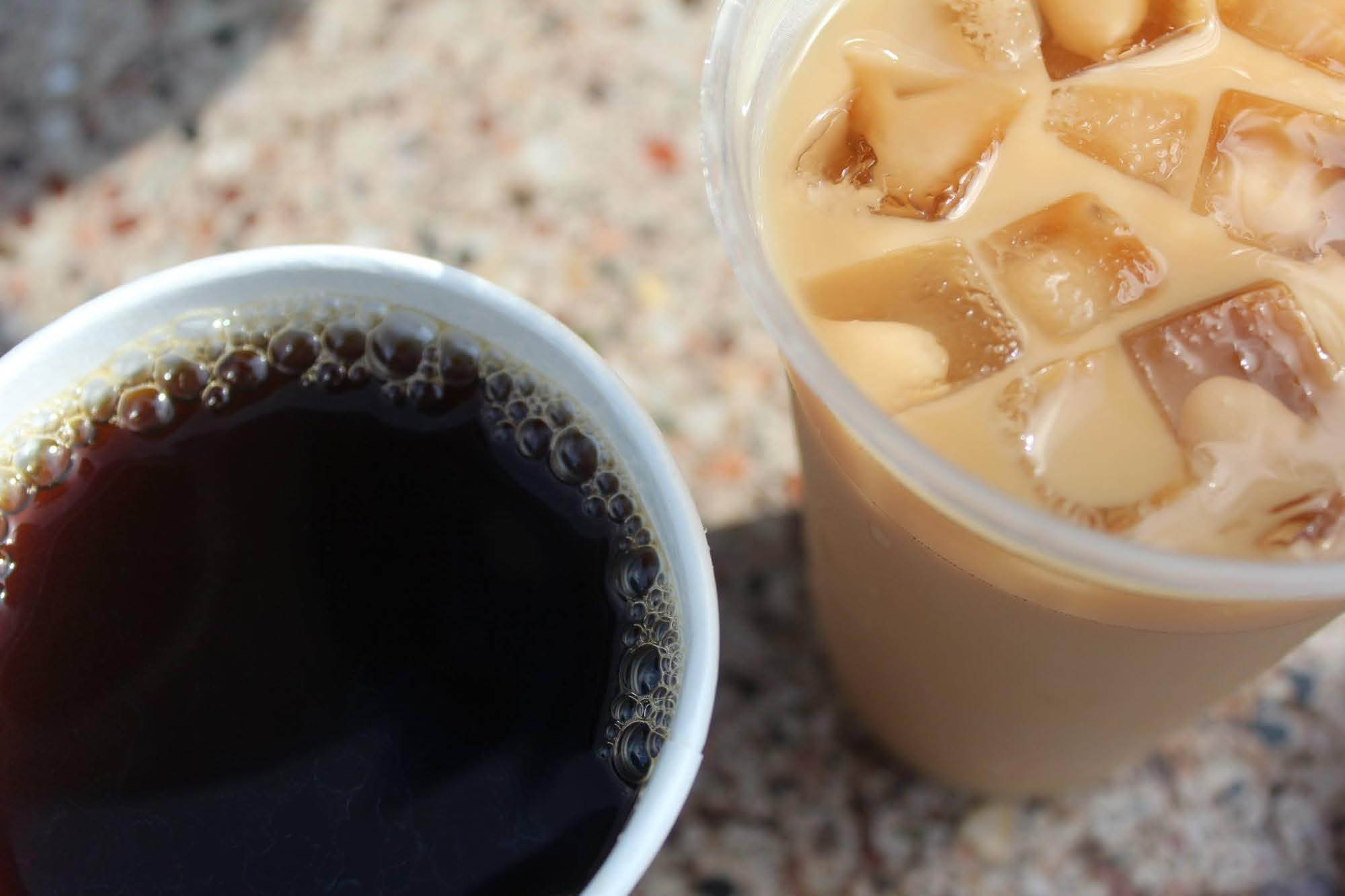 Hot and cold coffee drinks available at The Creamery!