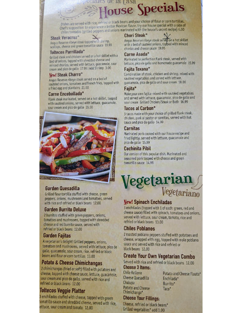 House Specials and Vegetarian