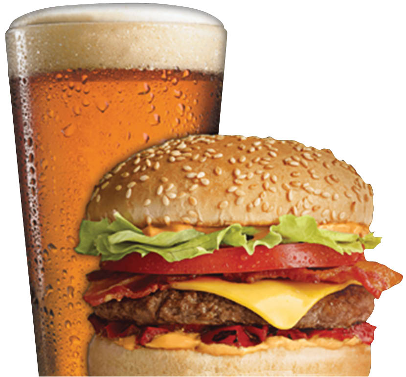 Picture of a burger and beer at The Hub Sports Bistro in Macomb, MI