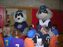Mascots at minor league baseball game near Newburgh