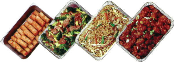 Catering trays from Hunan Inn Restaurant in Palos Heights, Il.