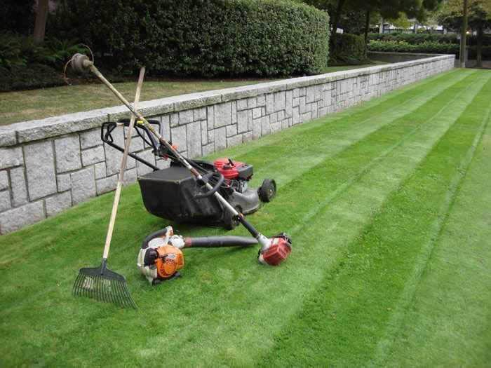 mowing, mulching top soil, planting