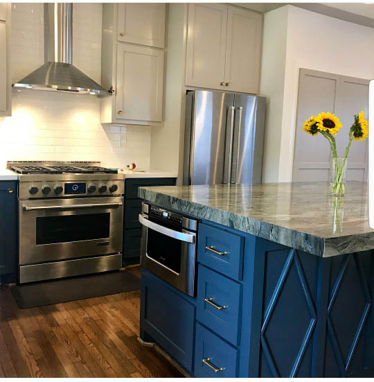 Kitchen remodel with new granite countertops and stainless steal stove