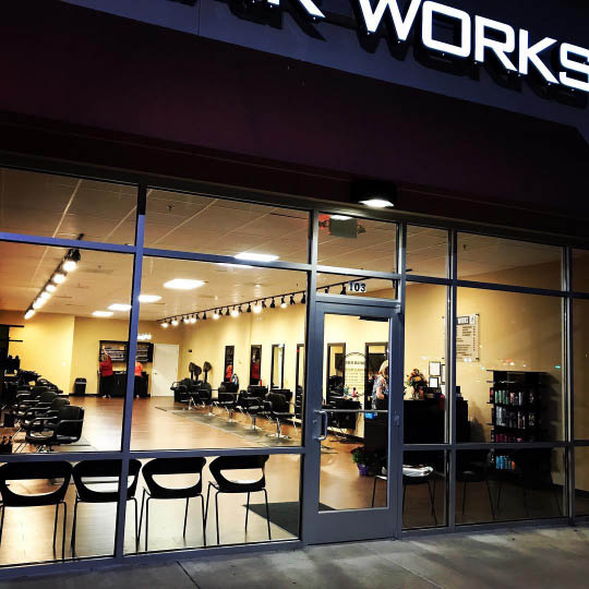 hair works salon logo, shampoo, cut, blowdry, haircut, color, treatments, waxing, style, ranson, redken, straightening,  highlights