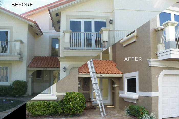 before & after house painting from Ocean View Pressure Cleaning & Painting south FL