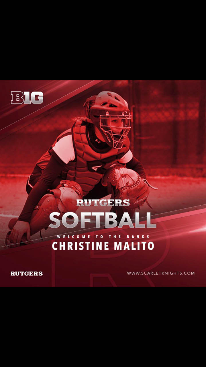 Christine Malito playing for  Rutgers University starting in fall of 2017