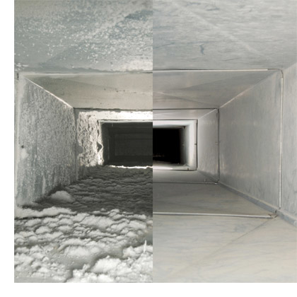 Air duct disaster before and air duct after cleaning