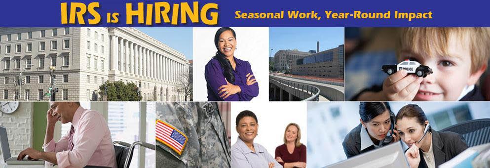 IRS is Hiring! Seasonal Work, Year Round Impact Banner