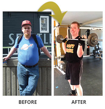 Before and after photos of a man who joined Ian Fitness in Seattle, WA - Normandy Park, WA - weight loss photos