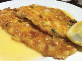 Filet of Sole Francese at Il Villagio Restaurant in Morris Plains NJ