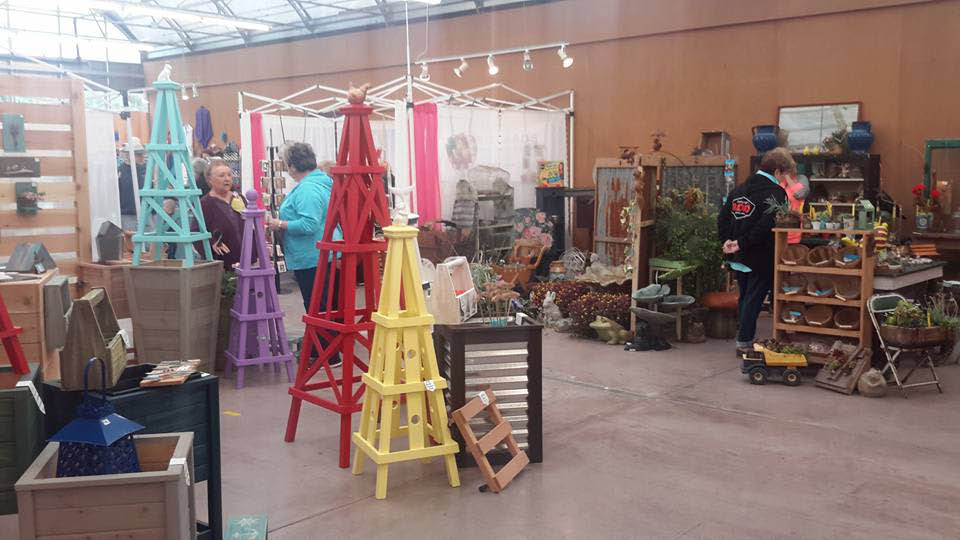 Inside Gig Harbor Farmer's Market - 50 plus unique vendors - creative gifts - garden supplies - preserved food