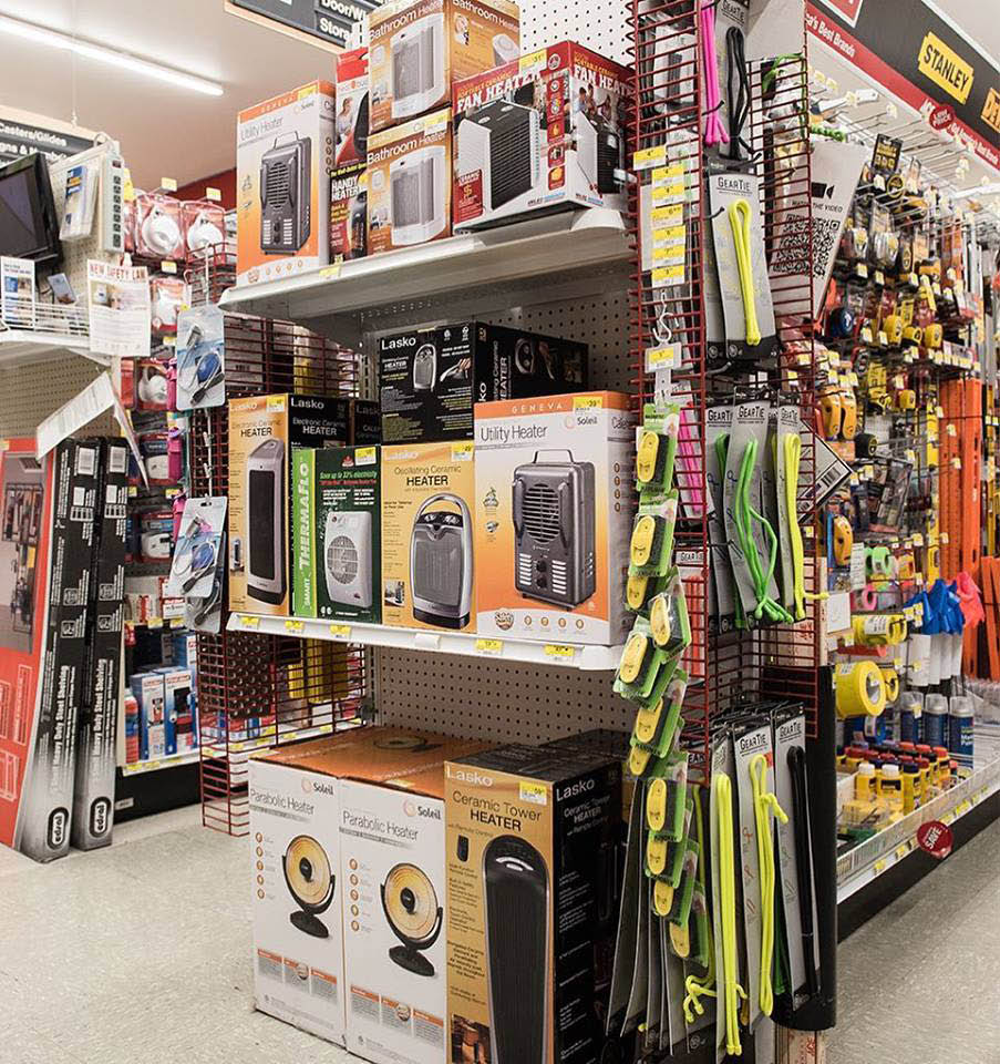 Inside Maple Leaf Ace Hardware in Seattle, WA - all kinds of heaters to stay warm in the cold weather - Ace hardware stores near me - hardware store coupons near me