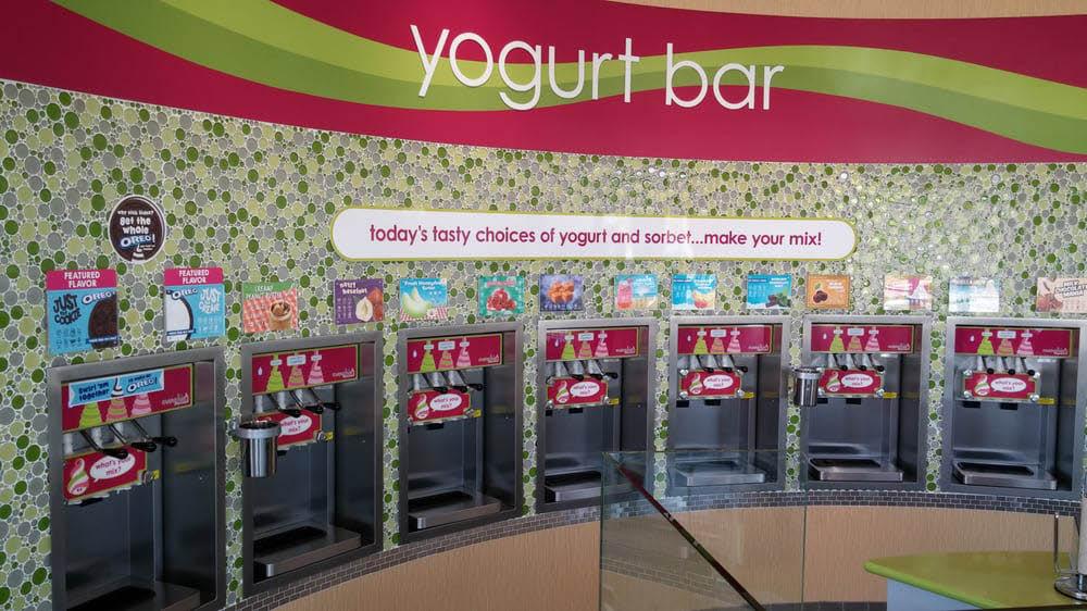 Inside Menchies Frozen Yogurt in Auburn, WA - yogurt bar